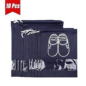 UQueen 10 pcs Travel Blue Transparent Dustproof Non-woven Fabrics Drawstring Multifunctional Shoe Storage Bag Pocket Case Organizer with Visual Window (5 Large Size + 5 Medium Size, Dark Blue)
