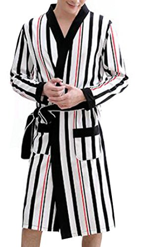 Striped Mens Robe - Cromoncent Mens Fashion Striped Robe Bathrobe Sleepwear Open Front Bathing Lounge Robes Black+White S