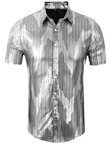 Daupanzees Men's Disco Shirt Long Sleeve Shiny Metallic Gold Silver Nightclub Style Party Polo Shirt (Silver XL) -