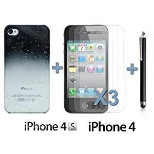 Transparent Gradient Water Drop Hard BackDiy For Ipod mini Case Cover Black with 3 Screen Protectors and Stylus