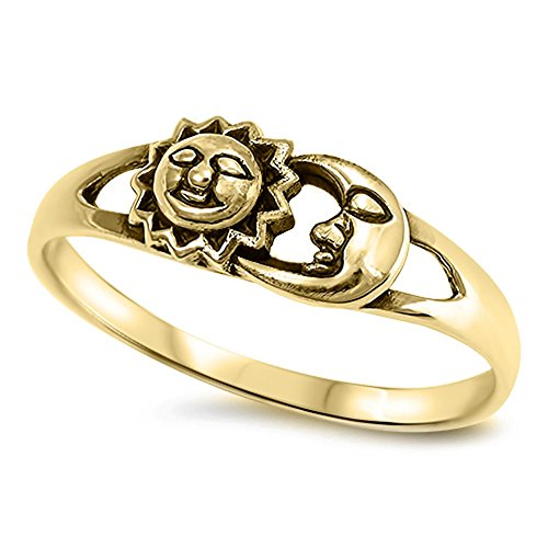 Gold-Tone Sun Moon Filigree Boho Ring New .925 Sterling Silver Band Size 8 - Gold Metal Fashion Ring