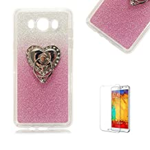 Samsung Galaxy S4 Mini i9190 Case [with Free Screen Protector], Funyye Luxury Bling Glitter Shiny Sparkly Crystal Clear Ultra Slim Thin Pink Gradual Colour Changing with Love Hearts Ring Grip Holder Stand Protective TPU Soft Silicone Rubber Gel Bumper Case Cover for Samsung Galaxy S4 Mini i9190