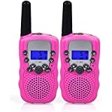 Swiftion Kids Walkie Talkies for Kids Rechargeable Long Range Two Way Radios 22 Channel Walky Talky FRS Walkie Talkies for Kids (Pink)