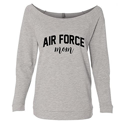 Air Force Mom Raw Edge Neckline Off The Shoulder Lightweight Pullover Sweater For Women by CamisasCo