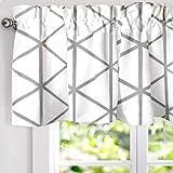 DriftAway Raymond Geometric Triangle Trellis Pattern Lined Thermal Insulated Energy Saving Window Curtain Valance for Living Room, 2 Layer, Rod Pocket, 52