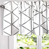 DriftAway Raymond Geometric Triangle Trellis Pattern Lined Thermal Insulated Energy Saving Window Curtain Valance for Living Room 2 Layers Rod Pocket 52 Inch by 18 Inch plus 2 Inch Soft White and Gray