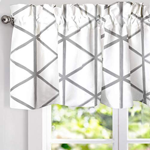 DriftAway Raymond Geometric Triangle Trellis Pattern Lined Thermal Insulated Energy Saving Window Curtain Valance for Living Room 2 Layers Rod Pocket 52 Inch by 18 Inch plus 2 Inch Soft White and Gray (Window Valance Topper)