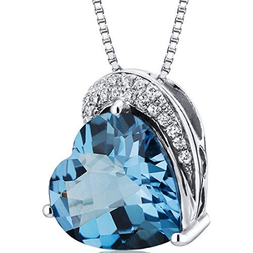 - Tilted Heart Shape 4.00 carats Sterling Silver Rhodium Finish London Blue Topaz Pendant