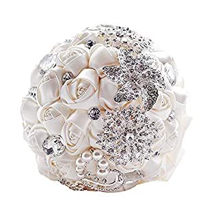 Abbie Home Advanced Customization Romantic Bride Wedding Holding Toss Bouquet Rose with Pearls and Rhinestone Decorative brooches Accessories-Multi Color Selection (Beige) 11