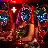 Qwqz zrzsbkl Demon Slayer Mask,LED Halloween Mask