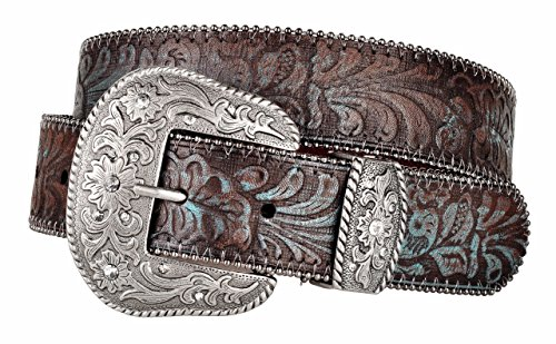 Western Scroll Buckle with Turquoise Tinted Embossed Brown Leather Belt (L) (Turquoise Belt Beaded)