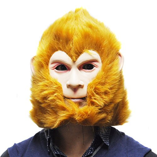 [SHEENROAD Halloween Latex The Monkey King Cosplay Mask] (Monkey Halloween)