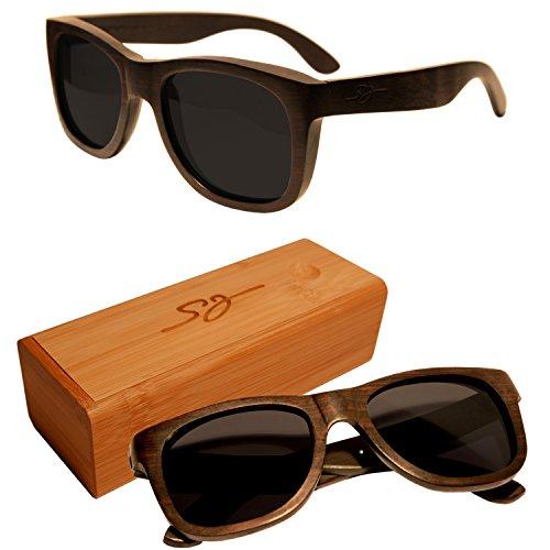 S&J Hochwertige Holz Sonnenbrille (Diospyros) & Brillenetui aus Bambusholz - 100% Echtholz Handgefertig - Naturprodukte mit UV Schutz CE Kennzeichnung Polarisiert Hartschalen Holzcase zur Aufbewahrung
