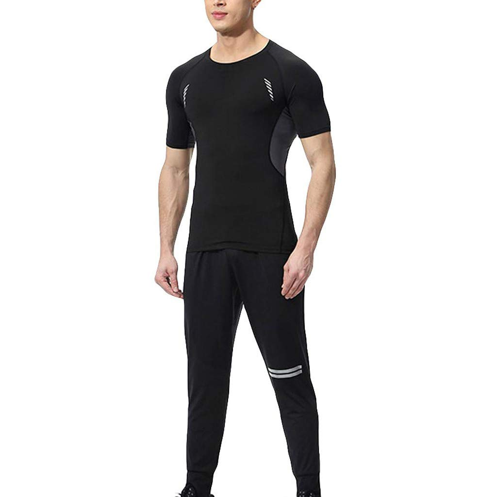 Men's Tracksuit Set Quick Dry Compression Tops T-Shirt and Long Pants Men Sports Running Athletic Tight Suit (M, Gray)