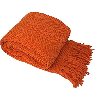 BOON Knitted Tweed Throw Couch Cover Blanket, 50  x 60 , Burnt Orange