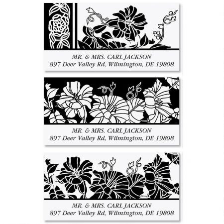 Black and White Floral Personalized Return Address Labels- Set of 144, Large Self-Adhesive, Flat-Sheet Labels (3 Designs) By Colorful Images
