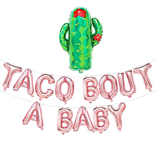 Taco Bout A Baby Balloons Letters with Cactus | Fiesta Theme Baby Shower Decorations | Baby Shower Banner | Pregnancy Announcement, Baby Announcement, Gender Reveal Party Supplies (Rose Gold)