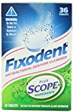 Fixodent Antibacterial Denture Cleanser Plus Scope, 36 Each (Pack of 3) Total 108