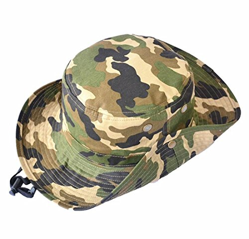 Unisex Boys Kids Unisex Camouflage Hat Sun Protection Bucket Cap Alpine Jungle Hat 7-14 Years Fishman Hat Green