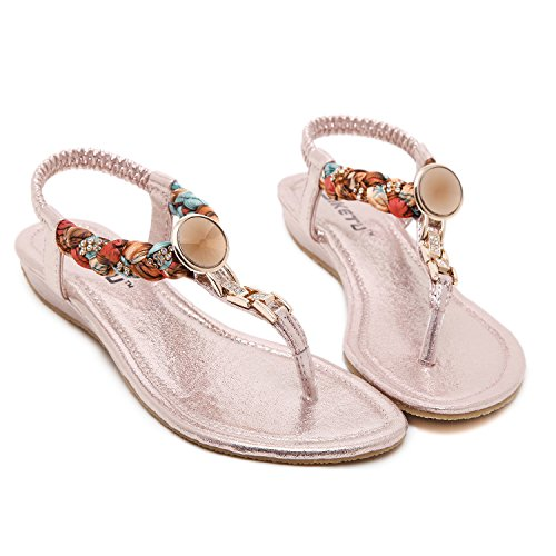 DQQ Damen Exotic Strass flach Sandale, Pink - rose - Größe: 40