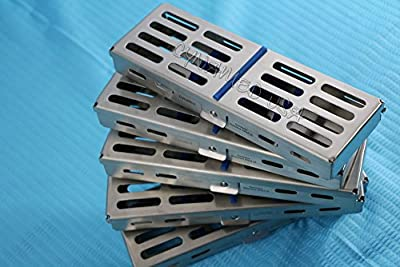 Set Of 5 Each German Stainless Steel Dental Autoclave Sterilization Cassette Rack Box Tray For 5 Instruments