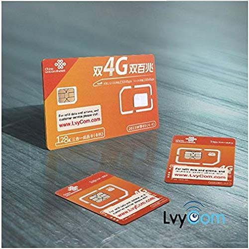 China Data SIM Card 80GB of 4G LTE Data Valid for 30days (3-in-1) by LvyCom