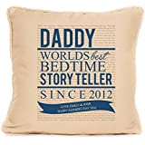 Personalised Gift For Dad Daddy Worlds Best Bedtime Story Teller Cushion Unique Fathers Day Gift BLUE by fourleafcloverprint