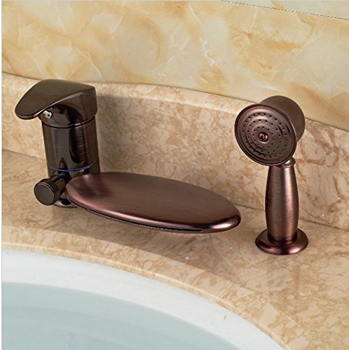 GOWE Luxury Oil Rubbed Bronze Waterfall Bathroom Faucet Tub 3 pcs Sink Mixer Tap W/ Hand Sprayer 2