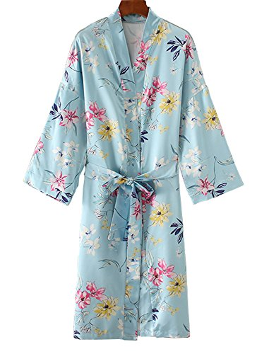 Floral Season Women Loose Sleeve Lightweight Cardigan Long Trench Kimono