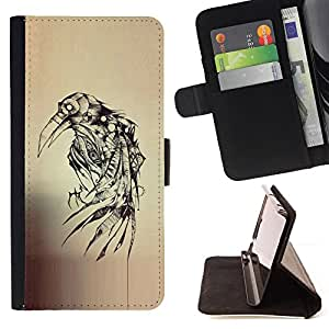 BullDog Case - FOR/HTC Desire 820 / - / crow ink tattoo sketch death metal /- Monedero de cuero de la PU Llevar cubierta de la caja con el ID Credit Card Slots Flip funda de cuer