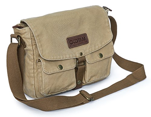 Gootium Canvas Messenger Bag - Vintage Crossbody Shoulder Bag Military Satchel, Khaki