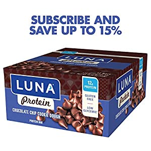 Luna Protein - Gluten Free Protein Bar - Chocolate Chip Cookie Dough - 159 Ounce Snack Bar 12 Count by Clif Bar