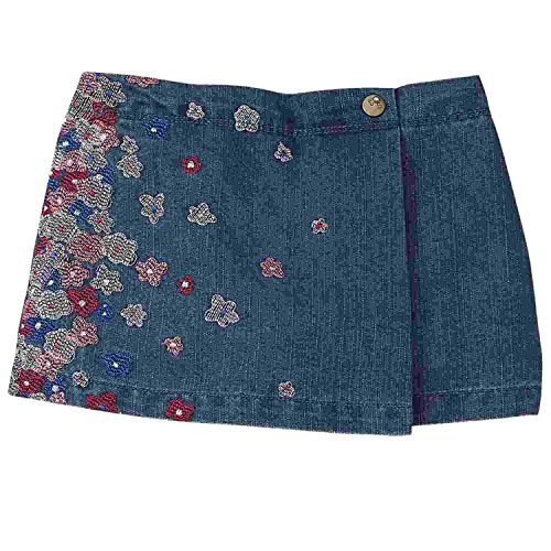Toughskins Infant & Toddler Girls Blue Denim Skort with Embroidered Flowers 24m - Embroidered Denim Skort