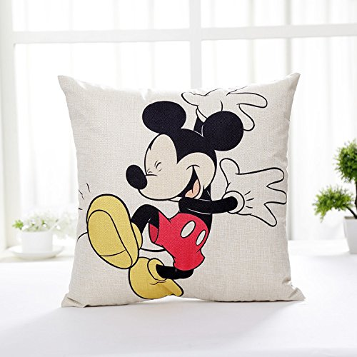 AM 2 Pc Kids White Red Mickey Mouse Throw Pillow Case Set, Yellow Black Walt Dance Cushion Cover Animal Happy Shoes Cute TV Children Cartoon, Linen