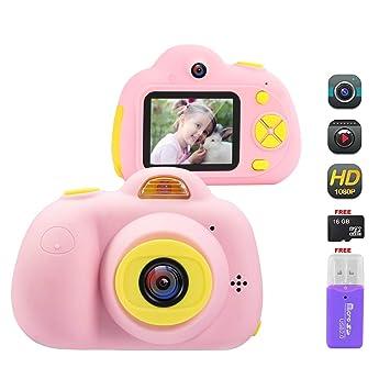 Cámara Digital para niños, Pantalla LCD de 2 Pulgadas + Lente Dual HD 18MP / 1080P + Tarjeta TF de 16GB + Lector de Tarjetas, Silicona a Prueba de ...