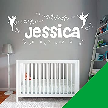 by Wall Designer Personalised Name Girls Wall Art Sticker Just message us with the name! Fairies Fairy Tinkerbell Stars -