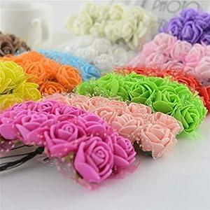 144Pcs Artificial Flowers for Wedding Party Supplies Car Decoration Handmade DIY Wreath Bridal Fake Mini Foam Simulation Rose 19