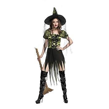 BGFDSV Mujeres Adultas Disfraz de Bruja Verde de ...