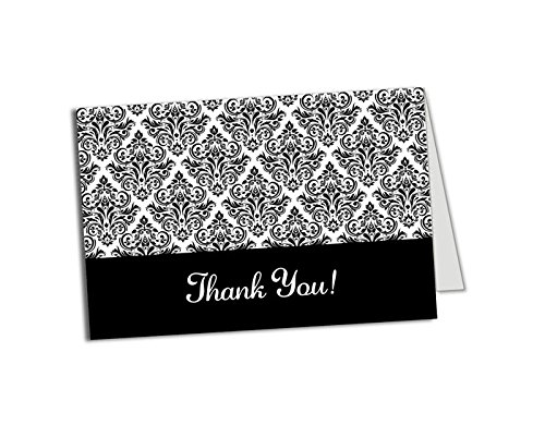 (50 (Thick Card Stock) Black and White Damask Foldover Thank You Cards and Envelopes - Wedding - Bridal Shower - Baby Shower - Birthday Party - Any Occasion - A6 Size)