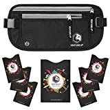 RFID Money Belt For Travel: The Trusted Hidden Waist Stash for Men and Women (Black + RFID Sleeves)