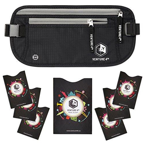 VENTURE 4TH RFID Money Belt for Travel: The Trusted Hidden Waist Stash for Men and Women (Black + RFID Sleeves)