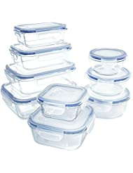 18 Piece Glass Food Storage Container Set - BPA Free - Use for Home, Kitchen and Restaurant - Snap On Lids Keep Food Fresh with Airtight Seal Safe for Dishwasher