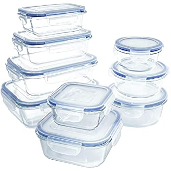 Amazon.com: 18 Piece Glass Food Storage Container Set - BPA Free - Use for Home, Kitchen and