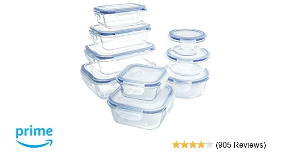 Amazoncom 18 Piece Glass Food Storage Container Set BPA Free