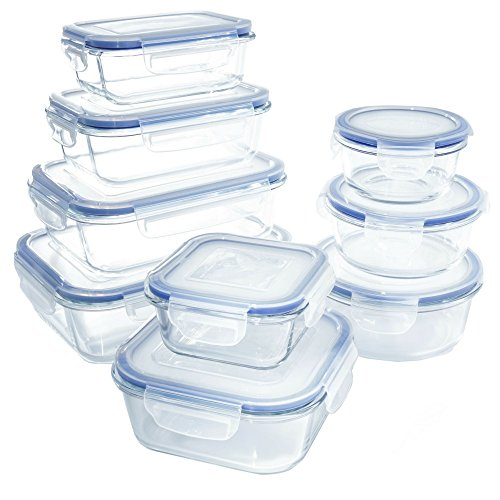 18 Piece Glass Food Storage Container Set - BPA Free - Use for Home, Kitchen and Restaurant - Snap On Lids Keep Food Fresh with Airtight Seal Safe for ()
