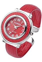 Top Plaza Fashion Women's Cuff Watch, Round Case PU Leather Band, Red