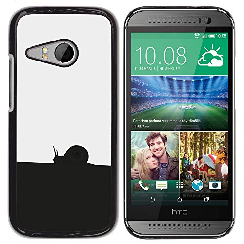 Hard PC Protective Case Smartphone Case Cover for HTC ONE MINI 2 / M8 MINI // Black White Snail // CooleCell