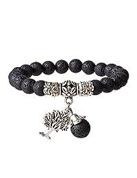 SIVITE Lava Rock Stone Beads Bracelet Tree of Life Yoga Meditation Healing Aromatherapy Diffuser Bracelet
