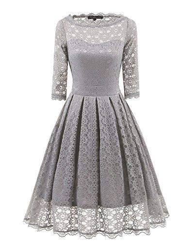 3/4 sleeve grey dress - 9