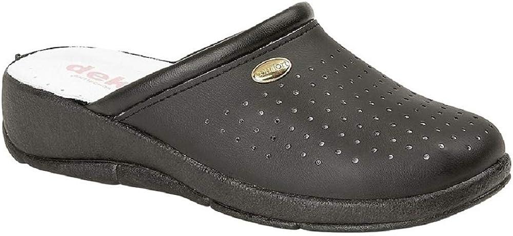 Black Dek Womens//Ladies Coated Leather Clogs 41 EUR